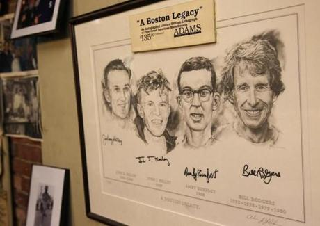 The store's walls bore memories of Rodgers' career as a Boston running icon.