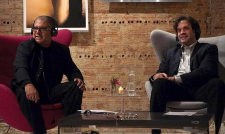 "Tanzi filming a show with mind-body expert Deepak Chopra (left). The two co-authored ""Super Brain""."