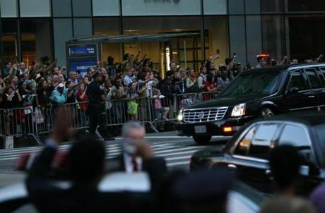 "A limousine carries the Obamas to New York's Belasco Theatre to see August Wilson's ""Joe Turner's Come and Gone.''"