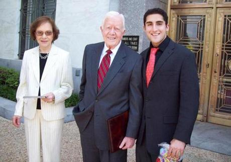 Tabassi with former president Jimmy Carter and Rosalynn Carter.