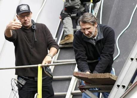 Director Thom Draudt, (left) gave instructions to cast member and Master Carpenter Norm Abram.