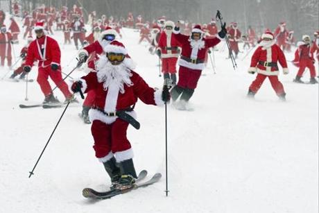 Hundreds of Santas took to the trails at Sunday River.