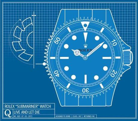 """Live and Let Die,"" 1973: Bond manages to cut the ropes that bind him using his Rolex ""Submariner"" watch with a face that turns into a circular saw. Note: The watch sold at a Christie's auction last year for $198,000."