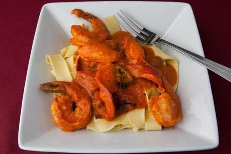 The shrimp and lobster dish pappardelle alla Yannalfo.