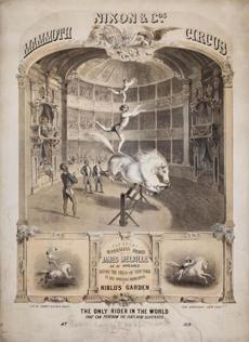 An 1859 poster spotlighting a bareback rider from Nixon & Co's Mammoth Circus.