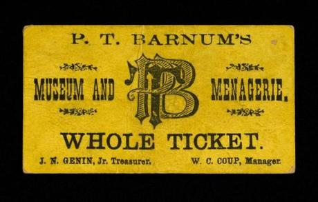An 1871 ticket from the Barnum Museum collection in Bridgeport, Conn.