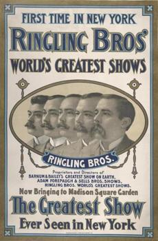 A 1909 two-tone lithograph depicting the Ringling brothers.