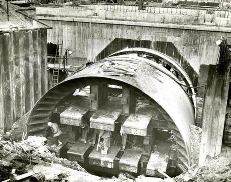 February 27, 1960: This is a view of the font end of the tunnel shield. A total of 134,000 cubic yards of material had to be excavated to complete the bore under the harbor. Sandhogs, from Boston Local 88, working 24 hours a day, six days a week, moved the excavation shield ahead an average of 16 feet per day.