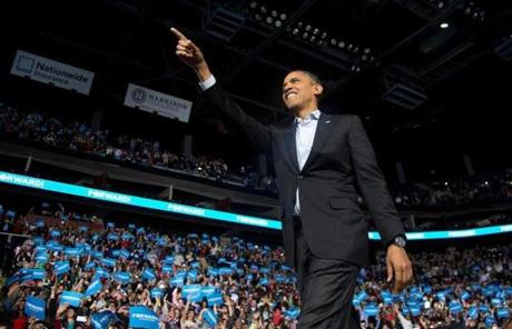 President Obama pointed at the crowd in Columbus, Ohio.