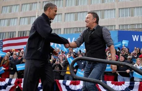 President Obama and musician Bruce Springsteen appeared at a rally in Madison, Wis.