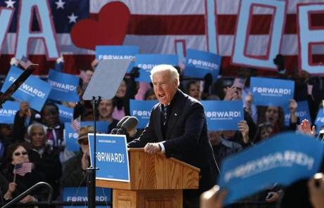 Joe Biden spoke Monday in Sterling, Va.