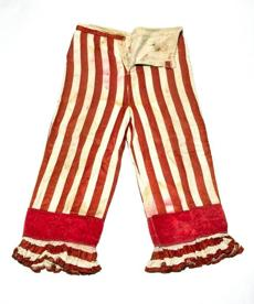 Striped pants, worn by Dan Rice, circa1860s.