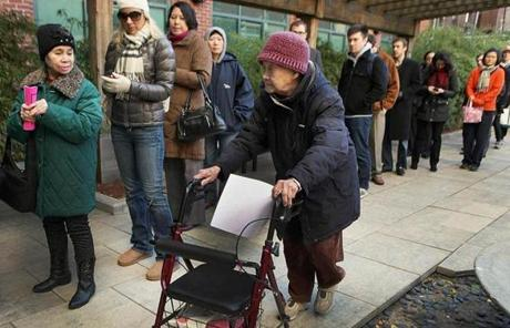 Lines were long outside a polling station in Boston's Chinatown.