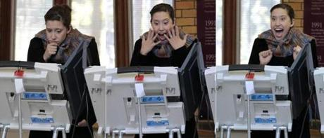 A three-picture photo combo showed Nina Bush casting her ballot on an electronic voting machine in Toledo, Ohio.
