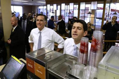 Republican candidate Mitt Romney and running mate Paul Ryan made an unscheduled stop at a Wendy's restaurant in Richmond Heights, Ohio.