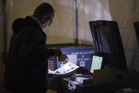 Replacement voting sites were created in Queens after Sandy damaged the existing polling places.