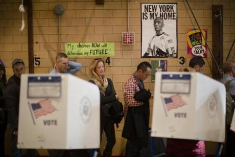 Voters waited to cast a ballot in the Chelsea neighborhood of Manhattan.