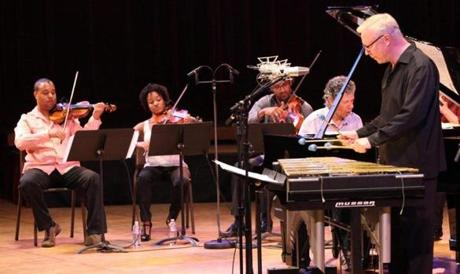 Harlem Quartet, Chick Corea, and Gary Burton performing at Ozawa Hall at Tanglewood on August 26, 2012. (Hilary Scott)