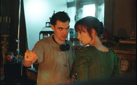"Knightley and director Joe Wright on the set of ""Pride & Prejudice."""