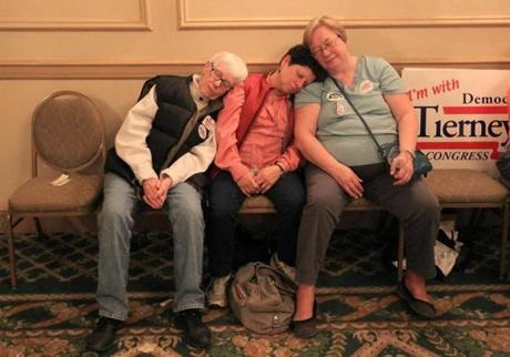 Tierney volunteers, from left, Mary Condon of Danvers, Marjie Crosby of Lynn and Rachel Tose of Lynn fell asleep at the Hawthorne Hotel in Salem while waiting for results in the Sixth Congressional District race between Representative John F. Tierney and GOP challenger Richard Tisei.