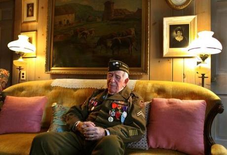 Walpole-110612- WWll veteran, Bob Foster, 93, wears his original Army uniform as he reflects on his years fighting during the war as Veterans Day approaches.Globe staff photo by John Tlumacki (lmetro)