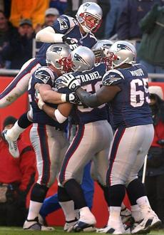 Tom Brady leaped on to the pile to celebrate Christian Fauria's second touchdown reception.