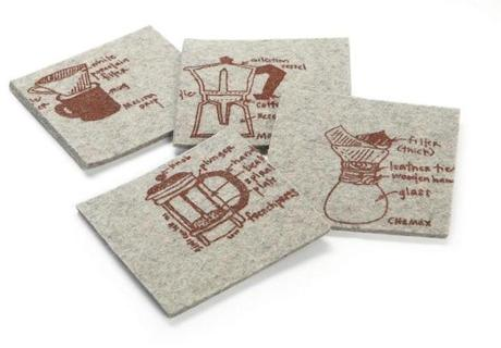 "Girls Can Tell ""Coffee Four Ways"" set of four coasters, $16 at Brookline Booksmith, 279 Harvard Street, 617-566-6660, brooklinebooksmith.com"