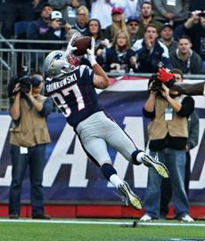 Gronkowski hauled in his 2-yard touchdown pass.