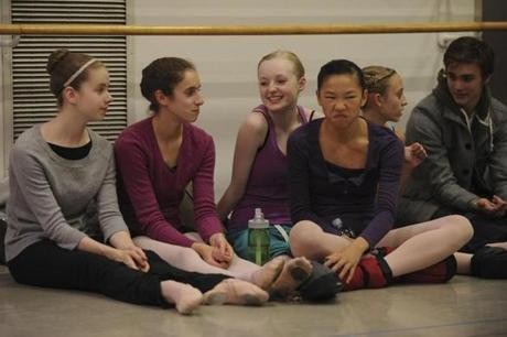 Dancers (left to right) Brenna Flaherty, Amelia Pedone, 16, Sarah Vachon, 16, Morgan Coyle-Howard, 15, Farin Taft, 13, and Bridge Taylor, 16, relaxed while waiting to rehearse for the party scene on November 9.