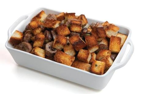 Your bird will roast quicker if it is not stuffed. Spread the bready mixture, filled with homemade croutons (see No. 4), portobello mushrooms, sausages, and pecans in a baking dish and you get crusty topping across the dish. Isn't that what everyone wants?