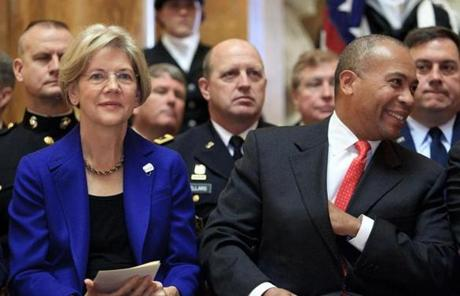 Governor Deval Patrick, Senator-elect Elizabeth Warren, and other political notables honored veterans and their families at the ceremony.