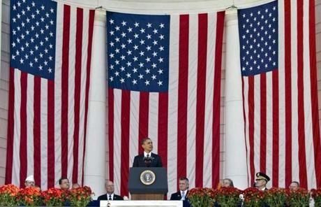 President Barack Obama speaks during a Veterans Day ceremony at the Arlington National Cemetery Amphitheater in Arlington, Va., Sunday, Nov. 11, 2012.