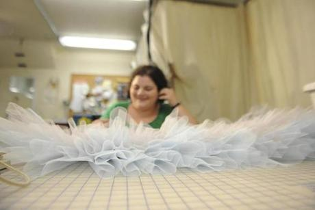 Junior stitcher Shana Burstyn worked on a tutu at the Boston Ballet's costume shop on June 5.