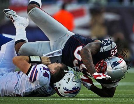 Fitzpatrick lost his helmet as Patriots linebacker Brandon Spikes slammed him to the turf. Spikes was called for a penalty on the play.
