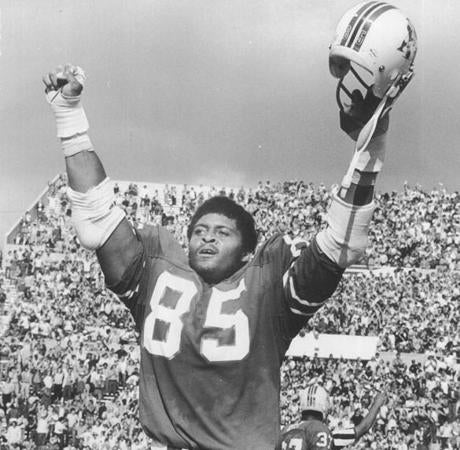 September 4, 1974: Patriots defensive end Julius Adams said it all without speaking a word as the final gun sounded on a Patriots win over the Miami Dolphins 34-24.