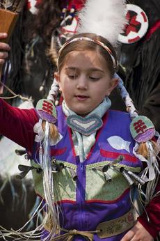Haylie Maddix was a Girls Jingle Dress Dancerat the 2009 Spring Planting Moon powwow in Marshfield.