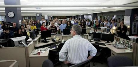Globe editor Martin Baron told the staff Tuesday he is leaving for The Washington Post.