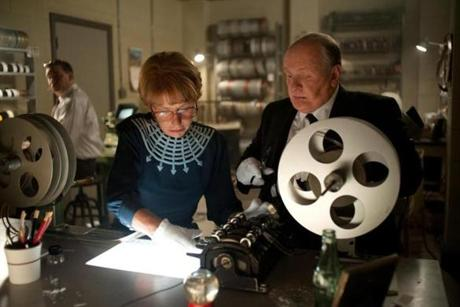 "Helen Mirren as ""Alma Reville"" and Anthony Hopkins as ""Alfred Hitchcock""."