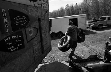 Groveton, N.H., 05-13-11- Nick Gilcris (cq) loads up spare tires before heading to the Riverside Speedway for practice with his father and grandfather. Nick's grandmother Rosie Gilcris (cq) says there's nothing for the kids to do in the north country.