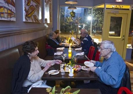 Norma and Mark Greenberg enjoyed dinner at the Waban Kitchen.