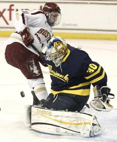 Boston College's Pat Mullane is denied on the doorstep by Merrimack goalie Sam Marotta, who finished with 38 saves.