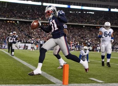 The New England Patriots' Aqib Talib returned an interception for a touchdown against the Indianapolis Colts at Gillette Stadium. Nov. 18, 2012.
