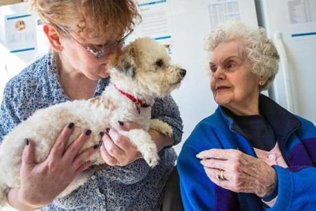"Christine MacDougall (left) of Framingham, introduced ""Martin"" to her mother Phyllis MacDougall during a toy poodle ""meet and greet"" held at Especially for Pets in Wayland."