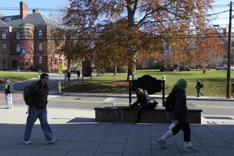 Framingham, MA- 11-19-12 - Students on the campus of Framingham State University, which is growing. (Globe staff photo / Bill Greene) section: week, reporter: reiss,