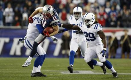 Colts punter Pat McAfee  had to tackle Edelman to prevent a potential second punt return for a touchdown.