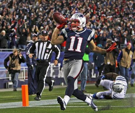 Edelman high-stepped into the end zone as he celebrated the score.