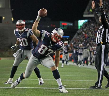Gronkowski did his customary spike, but would go one to suffer a broken left forearm late in the fourth quarter.