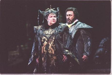 "Eaglen performing with Luciano Pavarotti in a 2000 production of ""Turandot"" at the Metropolitan Opera."