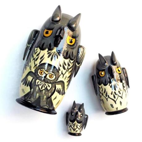Hand-painted wooden nesting owls, $34 at Patch NYC, The Courtyard at 46 Waltham Street, Boston, 617-426-0592, patchnyc.com