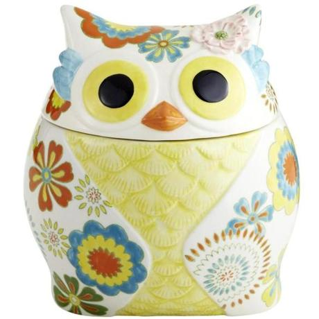 Owl cookie jar, $39.95 at Pier 1 Imports, 1583 Providence Highway, Norwood, 781-762-7171; 145 Great Road, Acton, 978-263-1057; and 133 Turnpike Street, North Andover, 978-989-9870; pier1.com